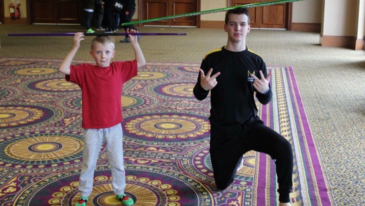 Dylan Stanbra and Jackson Rudolph after a private lesson at the Irish Open