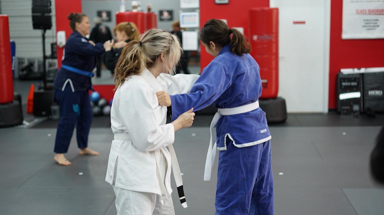 White belt in martial arts class